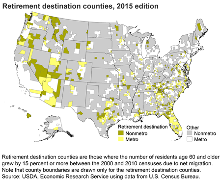 Retirement destination counties, 2015 edition