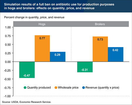 Restrictions on antibiotic use for production purposes in U.S. hogs and broilers likely to have modest effects on prices, quantities