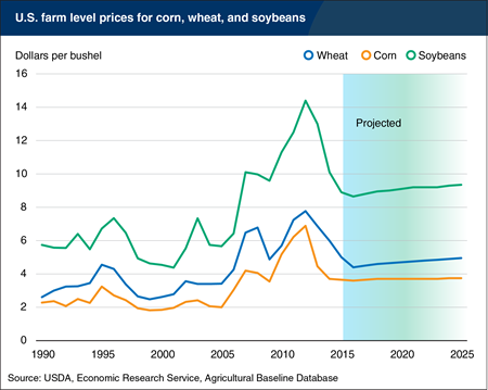Prices for grains and oilseeds projected to remain below recent highs