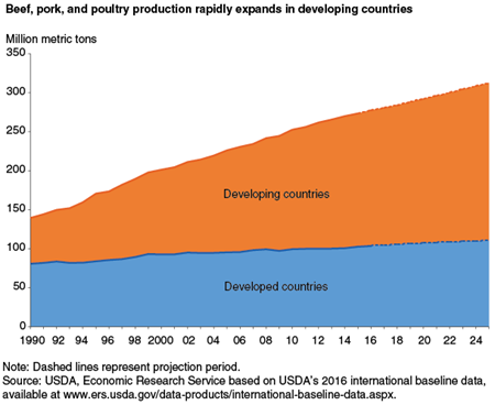 Beef, pork, and poultry production rapidly expands in developing countries