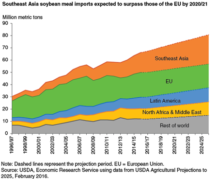 Southeast Asia soybean meal imports expected to surpass those of the EU by 2020/21
