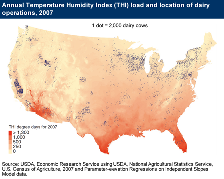 Annual Temperature Humidity Index (THI) load and location of dairy operations, 2007