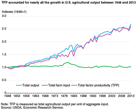 TFP accounted for nearly all the growth in U.S. agricultural output between 1948 and 2013