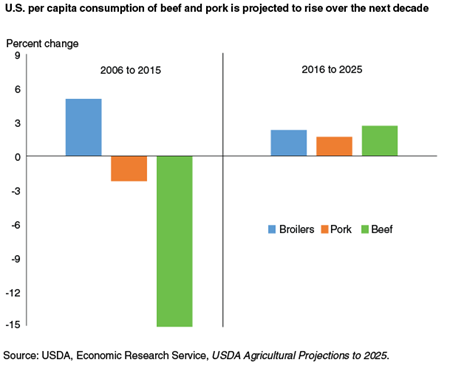 U.S. per capita consumption of beef and pork is projected to rise over the next decade