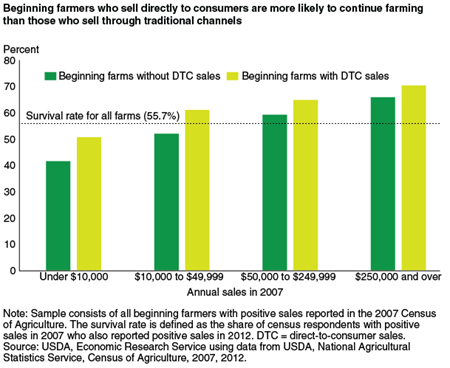 Beginning farmers who sell directly to consumers are more likely to continue farming than those who sell through traditional channels