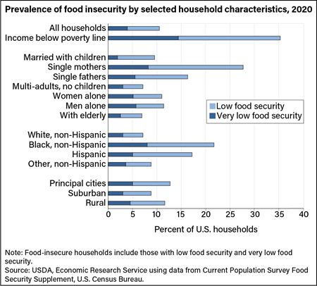 Food insecurity rates are highest for single mother households and lowest for elderly