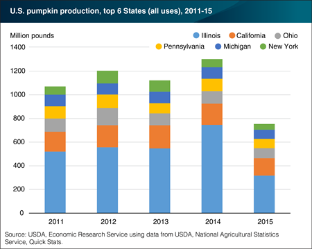 Six States account for about half of all U.S. pumpkin production
