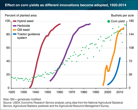 Technological innovations have increased corn yields