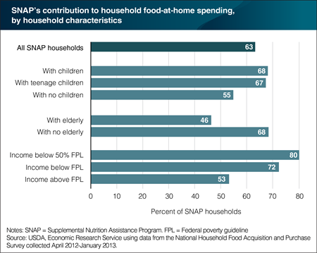 A bar chart showing SNAP's contribution to household food-at-home spending, by household characteristics.