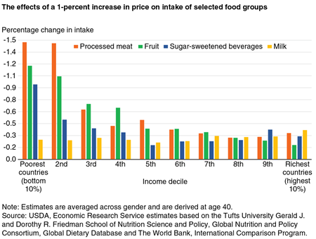 A bar chart showing the effect of a 1-percent increase in price on the intake of selected food groups by income decile.