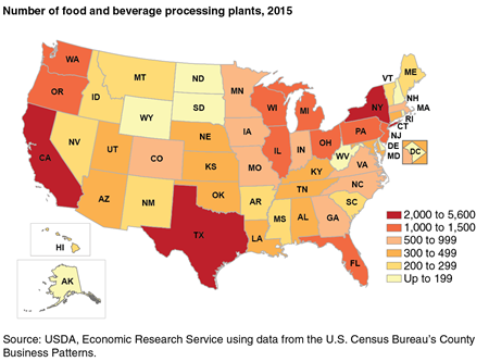 A map showing ranges in the number of food and beverage processing plants in 2015 by State.