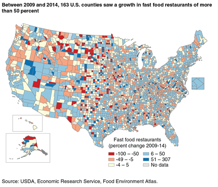 A map showing the percent change between 2009 and 2014 in the number of fast food restaurants by U.S. counties.