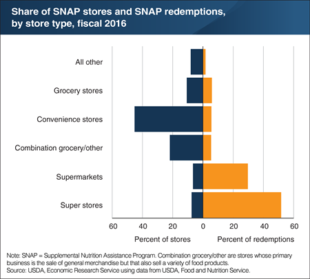 In 2016, 81 percent of SNAP benefits were redeemed in super stores and supermarkets