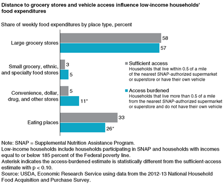 A bar chart showing the share of weekly food expenditures by place type for households with sufficient access and burdened access to large grocery stores