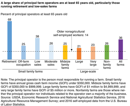 A bar chart comparing by farm size the share of principal farm operators at least 65 years old.