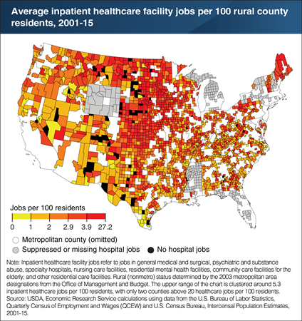 Employment in rural inpatient healthcare facilities was relatively more concentrated in the Upper Midwest and Northern Great Plains