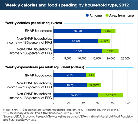 A bar chart showing weekly calories and food spending by household type, 2012.