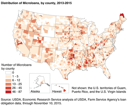 A map showing the distribution of USDA Direct Operating Microloans by county, 2013-2015.