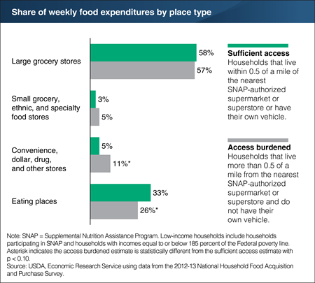 A chart showing the share of weekly food expenditures by place type.