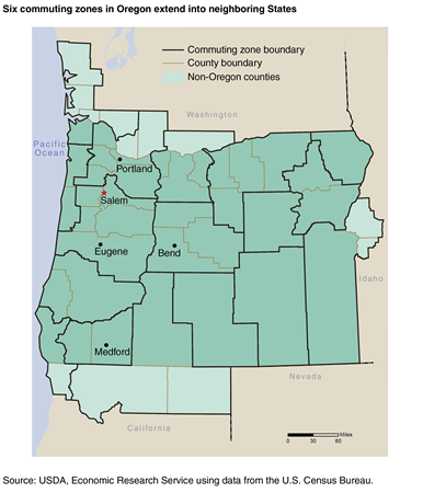 A map of Oregon and parts of neighboring States showing county boundaries and commuting zone boundaries