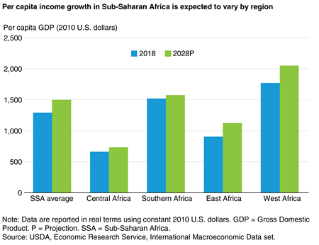 A column chart showing 2018 and projected 2028 real per capita GDP for Sub-Saharan Africa and its four subregions