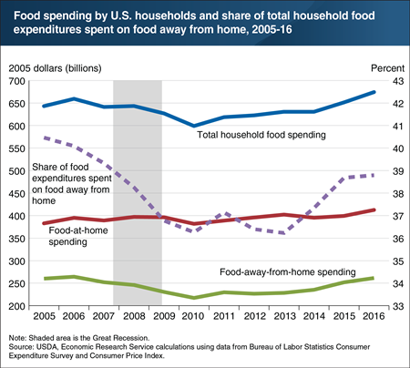 Inflation-adjusted food spending by U.S. households fell during the Great Recession and did not recover until 2015