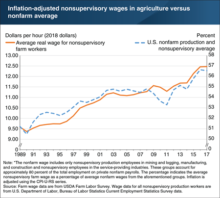 Farm wages are rising, both in inflation-adjusted terms and in relation to nonfarm wages