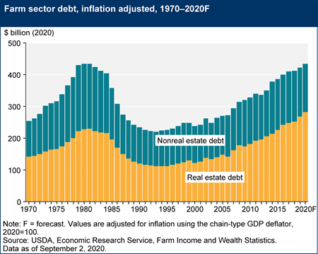 Farm sector debt, inflation adjusted, 1970–2020F