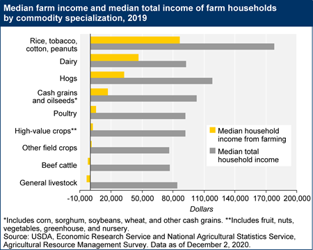 Median farm income and median total income of farm households by commodity specialization, 2019