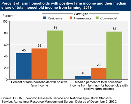 Percent of farms with positive farm income and their median share of total household income from farming, 2019