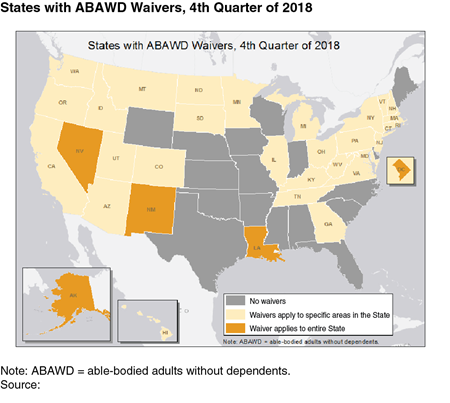 States with ABAWD waivers, 4th quarter of 2018