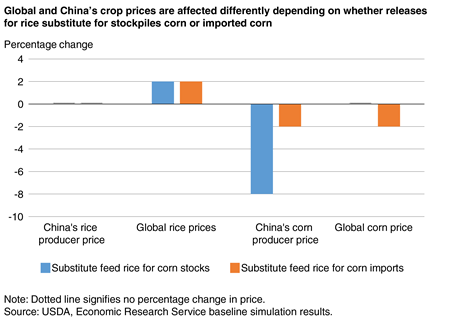 A column chart showing estimated changes to Chinese and global rice and corn prices if rice were substituted for corn in feed rations.