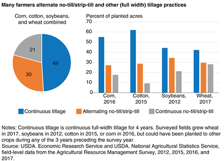 Pie chart showing continuous tillage (49%) compared to alternating  no-till/strip-till (30%), and continuous no-till strip-till (21%) for a combination of corn, cotton, soybeans and wheat from 2012–17. Also a line chart showing no-till adoption in U.