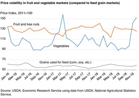 Line chart showing price volatility in fruit and vegetable markets (compared to feed grain markets)