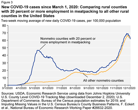 Chart showing confirmed COVID-19 cases per 100,000 population, two week rolling average, for meatpacking-dependent counties compared with all other counties