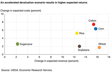 A scatter plot that graphs Brazil's economic returns to commodity production shows in general that as the change in expected costs is higher (y-axis) for a commodity, the change in expected revenue (x-axis) is also higher.