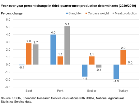Bar chart of Year-over-year percent change in third-quarter meat production determinants (2020/2019)