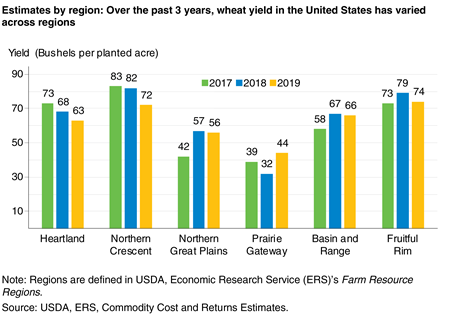 A bar chart that shows wheat yields by region in the United States over the past 3 years have varied across regions.