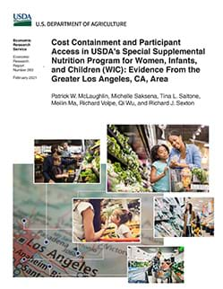 This is the cover image of the report, Cost Containment and Participant Access in USDA's Special Supplemental Nutrition Program for Women, Infants, and Children (WIC): Evidence from the Greater Los Angeles, CA, Area.