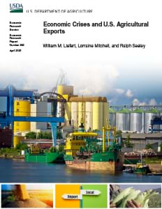 This is the cover thumbnail for the Economic Crises and U.S. Agricultural Exports report.