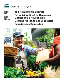 Report cover showing business to consumer photo at farmer's market