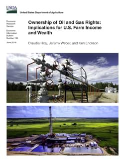 Photos of an oil wellhead in a field and an aerial view of a drilling rig.