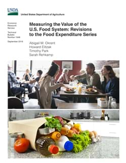 Cover of the report with two photos on it: a family having dinner at a restaurant and a grocery bag on kitchen counter