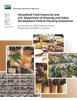This is the cover image for the Household Food Insecurity and U.S. Department of Housing and Urban Development Federal Housing Assistance report.